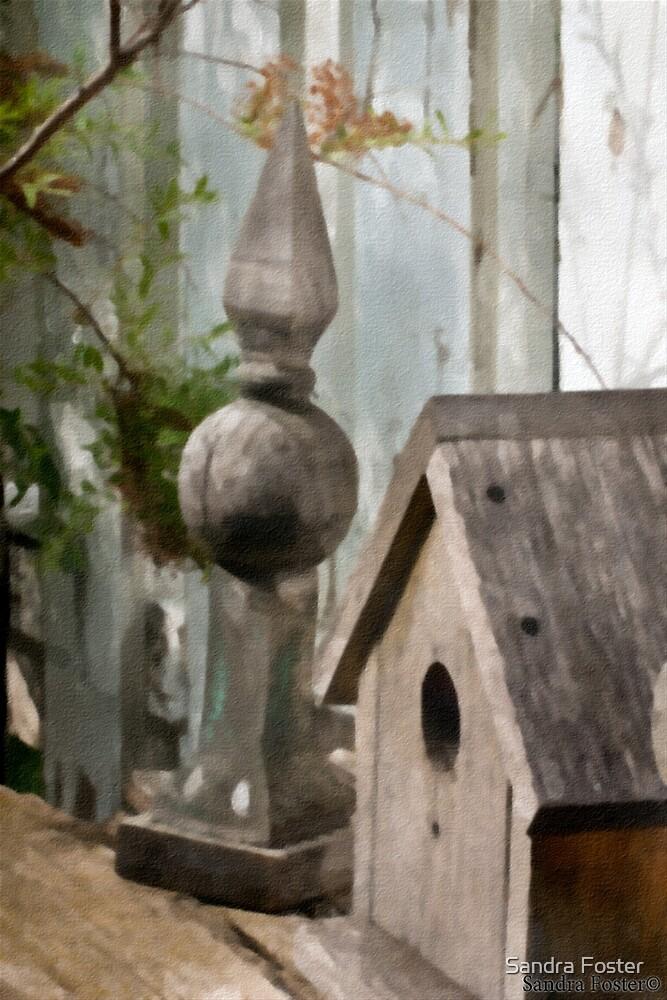 Bird House Garden Art - Digital Watercolor  by Sandra Foster