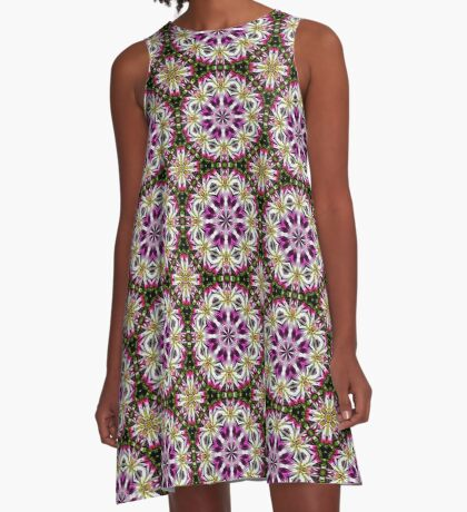Dahlia Flower Power Abstract A-Line Dress