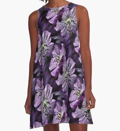 Pretty Purple Flowers Art A-Line Dress