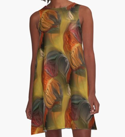 Colorful Rooster Feathers Abstract A-Line Dress