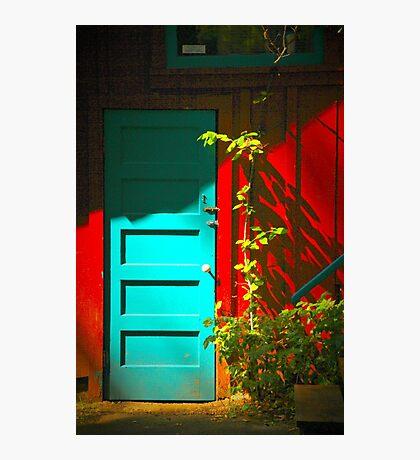 Blue Door in Shadow Photographic Print