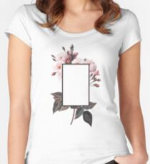 Floral Rectangle Logo Women's Fitted Scoop T-Shirt
