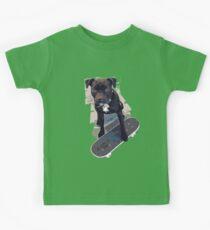 SK8 Staffy Dog Skater colour pic Kids Tee