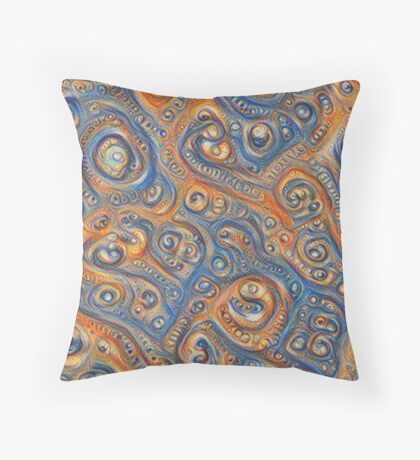 Blue Orange #DeepDream Throw Pillow