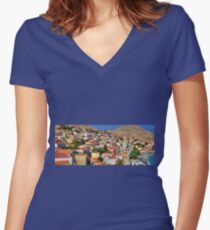 Nimborio, Halki Women's Fitted V-Neck T-Shirt