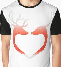 herz liebe elche rentier reh love aquarell rot blut Graphic T-Shirt