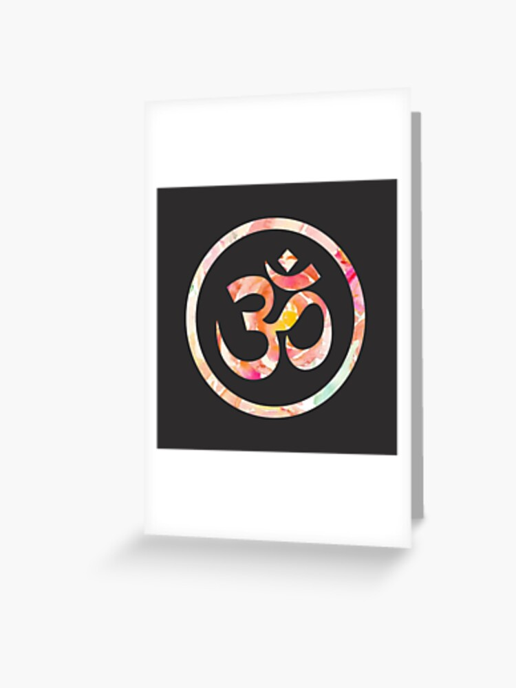 Om Aum Ohm Namaste Yoga Spiritual Hinduism Symbol   Greeting Card
