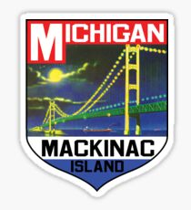 MACKINAC ISLAND MICHIGAN BRIDGE LAKE HURON GREAT LAKES VINTAGE BOAT 2 Sticker