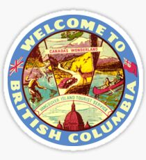 British Columbia BC Canada Vintage Welcome To Decal Sticker