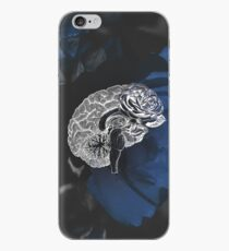 Anatomical Brain On Moody Blue Floral Background iPhone Case