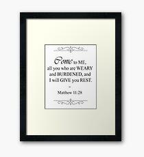Matthew 11:28 Bible Verse Framed Print