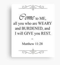 Matthew 11:28 Bible Verse Canvas Print