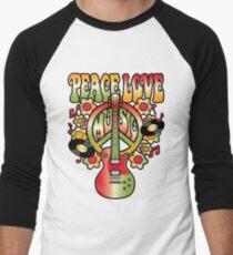 Peace-Love-Music Men's Baseball ¾ T-Shirt