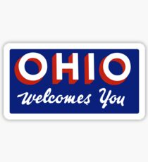 Ohio Welcomes You Road Sign Sticker