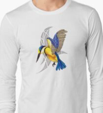 Sacred Kingfisher in flight Long Sleeve T-Shirt