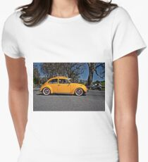 Yellow Volkswagen Beetle on Angas Creek Road Womens Fitted T-Shirt