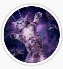 Space Cat Warrior Sticker