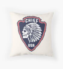 Native American Headdress Skull Throw Pillow