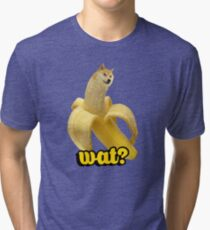 Doge banana dog shibe shiba inus wat? Tri-blend T-Shirt