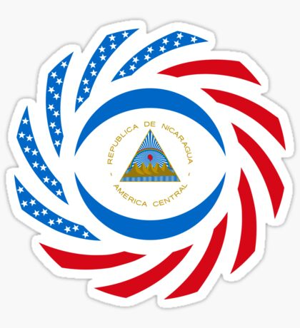 Nicaraguan American Multinational Patriot Flag Series Sticker