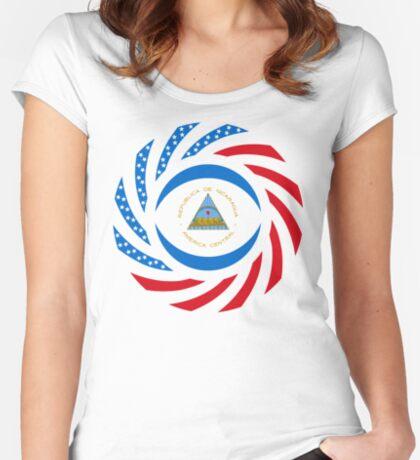 Nicaraguan American Multinational Patriot Flag Series Fitted Scoop T-Shirt