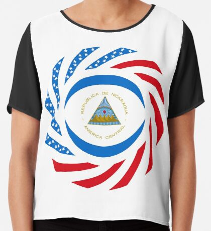 Nicaraguan American Multinational Patriot Flag Series Chiffon Top