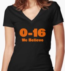 4c903b335fd0 0-16 We Believe Women s Fitted V-Neck T-Shirt