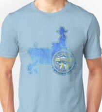 Nebraska State Flag Farmer Tractor T-Shirt