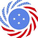 Micronesian American Multinational Patriot Flag Series by Carbon-Fibre Media