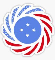 Micronesian American Multinational Patriot Flag Series Sticker
