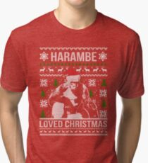 harambe loved christmas sweater tri blend t shirt