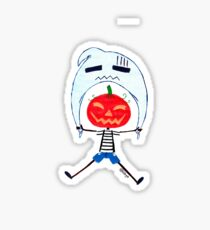 Jack O'Lantern flies with a Ghost Sticker