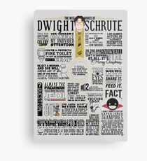 The Wise Words of Dwight Schrute (Dark Tee) Metal Print