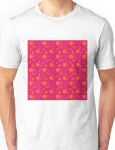 Orange Daisy Flowers on Hot Pink Background Unisex T-Shirt