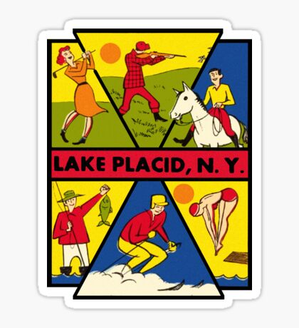 Lake Placid New York Vintage Travel Decal Sticker