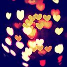 Colorful Hearts Bokeh Vintage Blue Yellow Orange II by Beverly Claire Kaiya