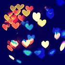 Colorful Hearts Bokeh Vintage Blue Yellow Orange III by Beverly Claire Kaiya