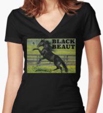 Black Beaut Women's Fitted V-Neck T-Shirt