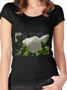 Beautiful white large round flower Women's Fitted Scoop T-Shirt