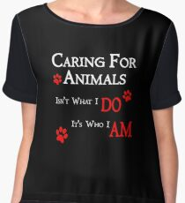 Caring For Animals Cute Cat Dog Pet Lover Design Chiffon Top