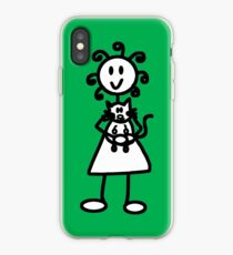 The Girl with the Curly Hair Holding Cat - Green iPhone Case