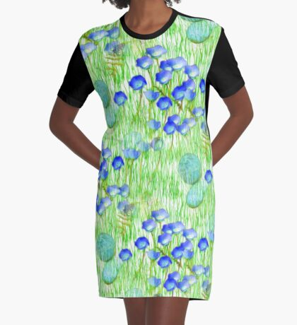 Blue Flowers Stones And Green Grass Graphic T-Shirt Dress