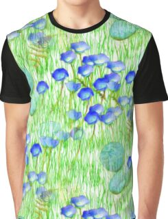 Blue Flowers Stones And Green Grass Graphic T-Shirt