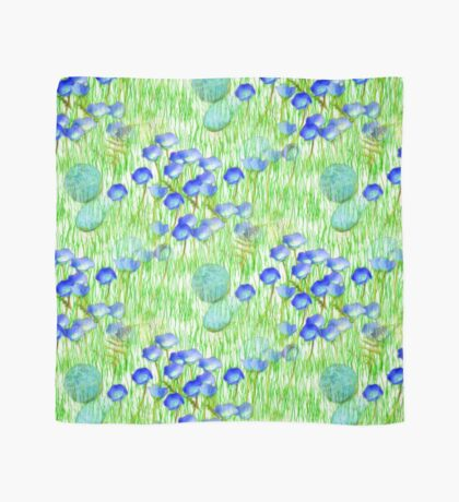 Blue Flowers Stones And Green Grass Scarf