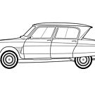 Citroen Ami 6 Line drawing artwork by RJWautographics
