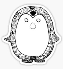 Hipster Penguin Zentangle Sticker