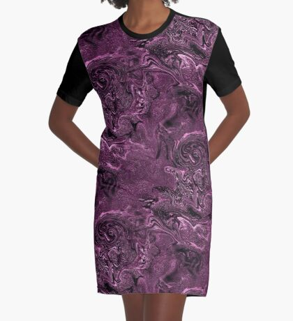 Purple Chaos Abstract Design Graphic T-Shirt Dress