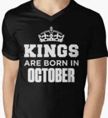 Kings Are Born In October Men's V-Neck T-Shirt