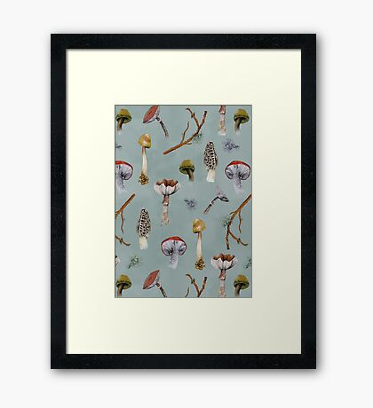 Mushroom Forest Collecting Party Framed Print