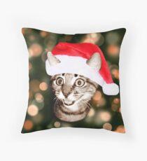 Christmas Hat Cat Throw Pillow